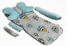 Baby Nellys Komplet do kočíka - podložka, polštářek, potah na popruhy a barierku č. 9  D19