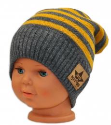 BABY NELLYS Jesenná/zimní prúžkovaná čiapka - šedo/žltá