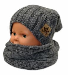 BABY NELLYS Jesenná/zimná čiapka s komínkem - tm. sivá