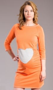 Be MaaMaa Tehotenské šaty SRDCE -  oranž, pomeranč