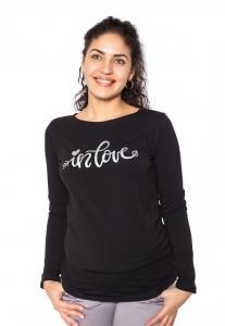 Be MaaMaa Tehotenské  tričko dlhý rukáv In Love - čierné - XL