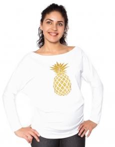 Be MaaMaa Tehotenská mikina, triko Ananas - biela - M