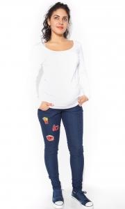 Be MaaMaa Tehotenské nohavice / jeans s aplikacjou  TOP - S