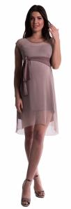 Tehotenské šaty sa šifónovým prehozom - cappucino