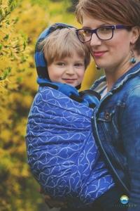 Little FROG Žakárová tkaná šatka na nosenie detí - Blue Hourglasses efa2e4127e