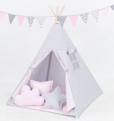 Mamo Tato Stan pre deti teepee, típí s výbavou - sivý/svetlo ružový