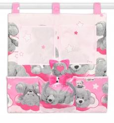 Vreckár na postieľku Macko Hviezdička Baby Nellys - ružový