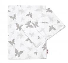 Baby Nellys 2-dielne bavlnené obliečky, 135x100cm, Motýliky - šedé