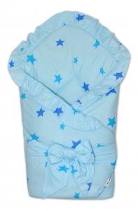 Baby Nellys  Rýchlozavinovačka 80x80cm s volánikom a stuhou - Baby stars - modrá, K19