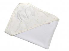 Detská termoosuška Baby Mini Stars s kapucňou, 100 x 100 cm - biela/smotanová