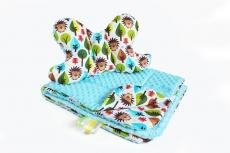 Baby Nellys 2-dielna Súprava do kočíka s Minky s motýlikom - ježko, Minky - sv. modrá