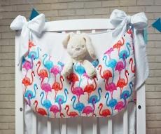 6614b8924 BABY NELLYS Zimná pletená čiapočka s šálom Mimi Bear - sivá s brmbolcami.  6.40€ · Baby Nellys Vreckár nielen na hračky, Plameňák - biely