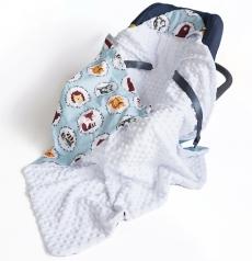 Baby Nellys Luxusná bavlnená dečka 3v1 s Minky, 90 x 90 cm, lesné zvieratká, Minky - biela