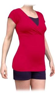 Tehotenská-dojčiace pyžamo, krátke - tm.ružová/slivka, vel´. L/XL