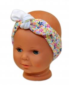 bd2ce94ce Baby Nellys Čelenka, šatka na zaväzovanie uzlík, uni - biela s farebnými  kvetinkami