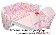 3-dielna sada mantinel s obliečkami + zavinovačka zadarmo - Srdiečka ružová, ružová, D19