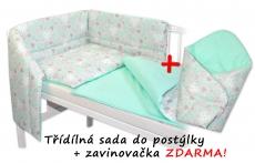 3-dielna sada mantinel s obliečkami + zavinovačka zadarmo - Srdiečka mátová, máta, D19