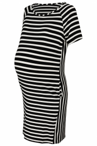 Be MaaMaa Tehotenské prúžkované šaty s Kr. rukávom a vreckami - ecru/čierna