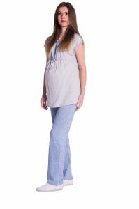 Be MaaMaa Tehotenské, dojčiace pyžamo - šedá/modrá, vel´. XL
