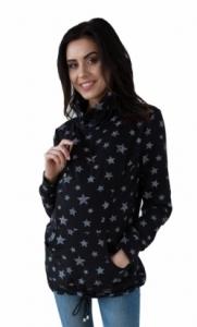 Be MaaMaa Tehotenská a dojčiace mikina s roláčikom - čierna, potisk hviezdičky, vel´. S