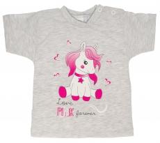 Bavlnené tričko veľ. 86 - Pony - sivé