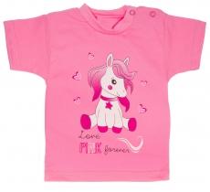 Bavlnené tričko, veľ. 68 - Pony - ružové