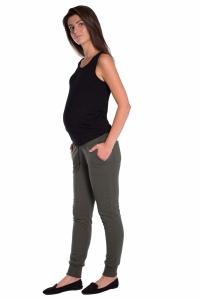 Be MaaMaa Moderné tehotenské tepláky s odnímateľným pásom - khaki, vel´. XL