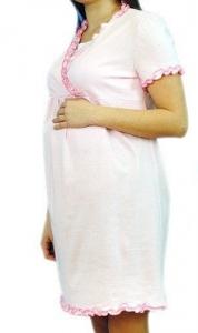 Tehotenská, dojčiace nočná košeľa s volánikom - růžová