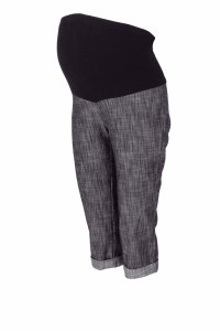Be MaaMaa Tehotenské 3/4 nohavice s elastickým pásom - čierne/melírované, vel´. XL