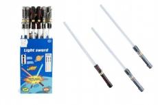 Meč svietiaci plast 72cm na batérie meniace zvuk podľa pohybu so svetlom asst 3 farby 24ks