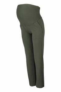 Tehotenské nohavice s elastickým pásom, s vreckami - khaki
