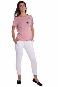 Be MaaMaa Tehotenské 3/4 nohavice s odpárateľným pásom - biele, vel´. XL