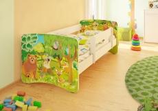 NELLYS Detská posteľ so zábranou Zvieratká z lesa II - 200x80 cm