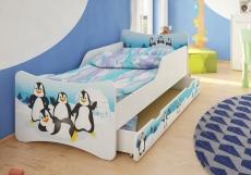 NELLYS Detská posteľ so zábranou Tučniaci + šuplík - 160x70 cm