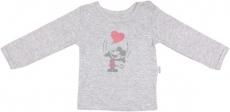 Mamatti Bavlnené tričko Little mouse - dlhý rukáv - sivé