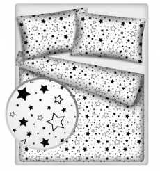 Baby Nellys Bavlnené obliečky 140 x 200 - Čierne hviezdy a hviezdičky