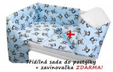3-dielna sada mantinel s obliečkami + zavinovačka zadarmo - Baby Panda, modrá, D19