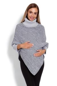 Be MaaMaa Tehotenské pončo s dlhým rukávom - rolák, sivý melírek