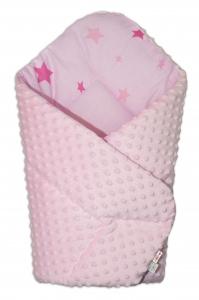 Obojstranná zavinovačka 75x75cm Minky - hviezdičky ružové - sv. ružová