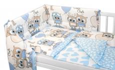 3- dielná sada mantinel s obliečkami Cute Owls - modrá