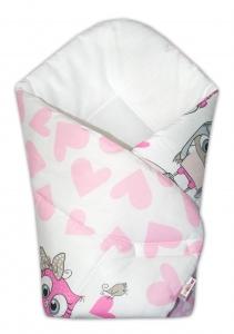 Baby Nellys  Novorodenecká zavinovačka Cute Owls - ružová