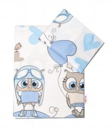 Baby Nellys 2-dielne bavlnené obliečky 135x100 cm, Cute Owls - modrá