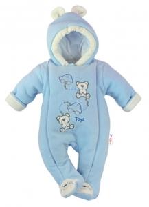e443dcdb9 BABY NELLYS Zimná pletená čiapočka s šálom Mimi Bear - sivá s brmbolcami