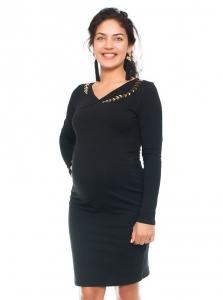 Be MaaMaa Elegantné tehotenské a dojčiace šaty s výšivkou - čierna, veľ. M