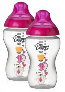 Tommee Tippee Dojčenská fľaša 340 ml 2ks v balení - sv. ružová
