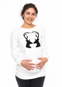 Be MaaMaa Tehotenské triko, mikina Renifer - biele, veľ. L