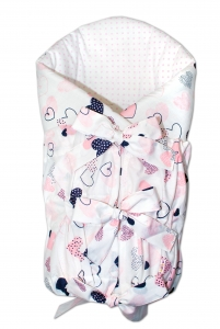 BABY NELLYS Zavinovačka šnurovacia 75x75cm - Srdiečka ružové, biele, K19