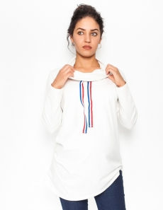 Tehotenské tričko / mikina so stojačikom Nova - biela, veľ. M
