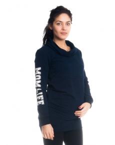 Be MaaMaa Tehotenské a dojčiace triko/mikina Mom Life, dlhý rukáv, granátové
