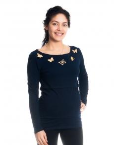 Tehotenské, dojčiace tričko / blúzka dlhý rukáv s potlačou motýliků - granátové, veľ. S